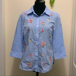 Karen Scott 100% Cotton Embroidery flowers Detailing Gingham Checked  Shirt